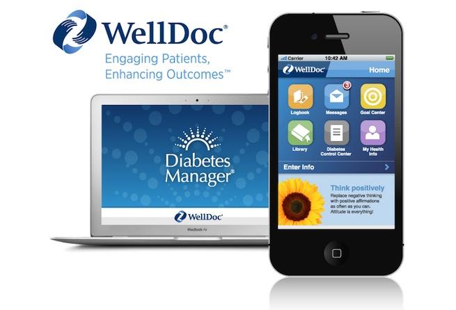 糖尿病患者向けアプリ「WellDoc」。米国ではアプリによる治療が当たり前のものになりつつある。(画像出典:http://venturebeat.com/2013/04/05/welldoc-is-the-next-med-tech-acquisition-sources-say/)