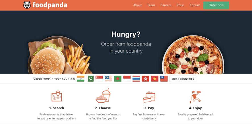 東南アジア・南アジアで注目されるテイクアウトベンチャーの一つ・foodpanda。 Rocket Internetの子会社で、ゴールドマン・サックスなどからの多額の資金調達で話題となった。(出典:https://www.foodpanda.com/)