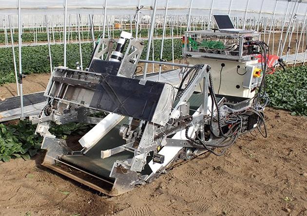 エムスクエア・ラボが提供する収穫ロボット。このような技術を用いる場合は土地集約化による農業生産者の経営規模拡大が欠かせない。(参考:http://www.projectdesign.jp/201506/newidea-for-change-agriculture/002136.php)